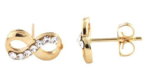 2 Pairs Of Solid Metallic Goldtone With Clear Half Iced Out Infinity Symbol Stud Earrings