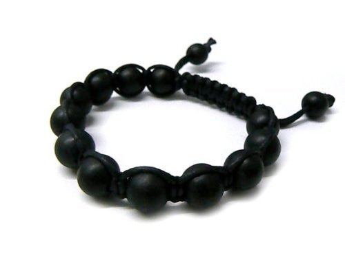 2 Pieces Of Black 12mm Macrame Beaded Adjustable Bracelet