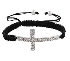2 Pieces Of Black With Silvertone Sideways Cross Adjustable Bracelet