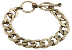 2 Pieces Of Burnished Goldtone 8.5 Inch Cuban Link 14mm Bracelet With Adjustable Toggle