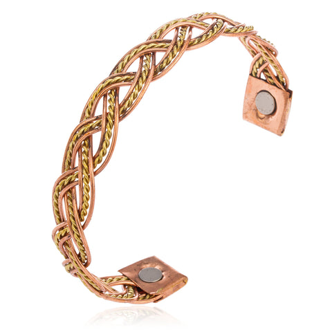 2 Pieces Of Copper Braided Rope Chain Adjustable Magnetic Bangle Bracelet