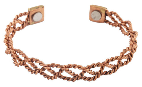 2 Pieces Of Copper Twisted Rope Chain Style Adjustable Magnetic Bangle Bracelet