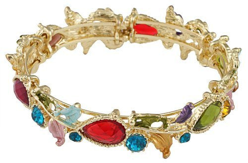 2 Pieces Of Gold With Multicolors Tear Drops & Leaves Bangle Bracelet