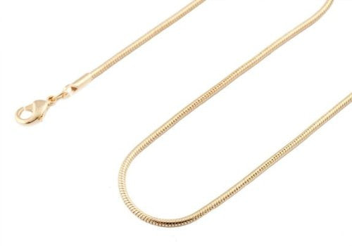 2 Pieces Of Goldtone 1.4mm 20 Inch Snake Franco Chain Necklace