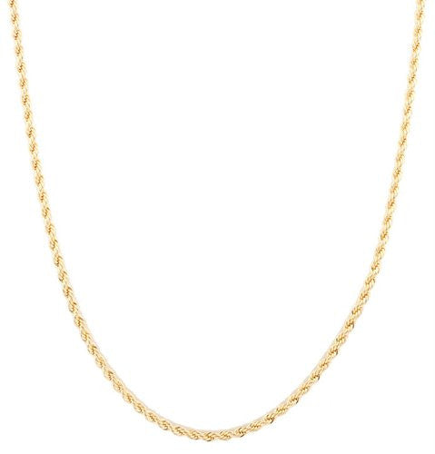 2 Pieces Of Goldtone 3mm 24 Inch Rope Chain Necklace