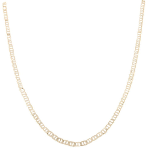 2 Pieces Of Goldtone 4mm 20 Inch Flat Mariner Chain Necklace