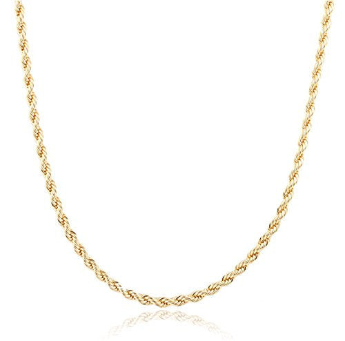 2 Pieces Of Goldtone 4mm 36 Inch Rope Chain Necklace
