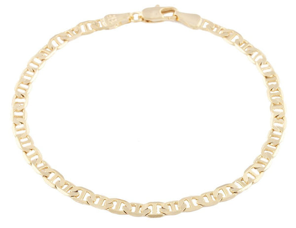 2 Pieces Of Goldtone 4mm 8 Inch Flat Mariner Chain Bracelet