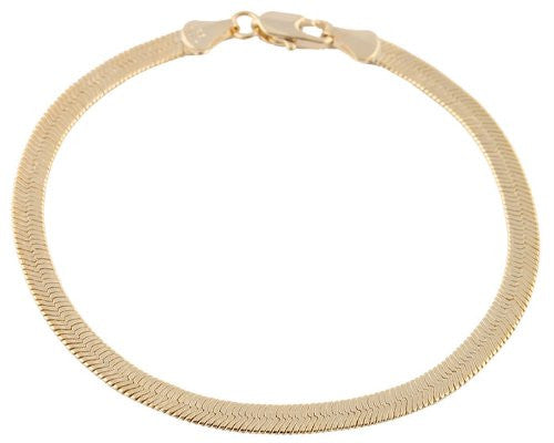 2 Pieces Of Goldtone 5mm 8 Inch Herringbone Chain Bracelet
