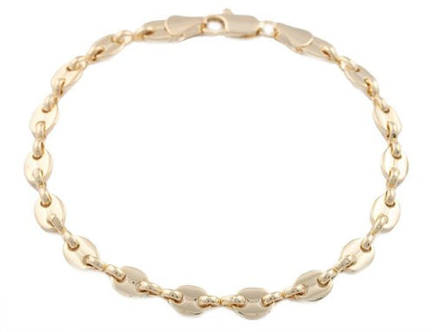 2 Pieces Of Goldtone 5mm 8 Inch Pig Nose Chain Bracelet