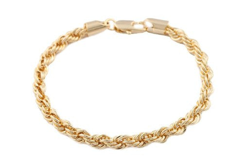 2 Pieces Of Goldtone 5mm 8 Inch Rope Bracelet