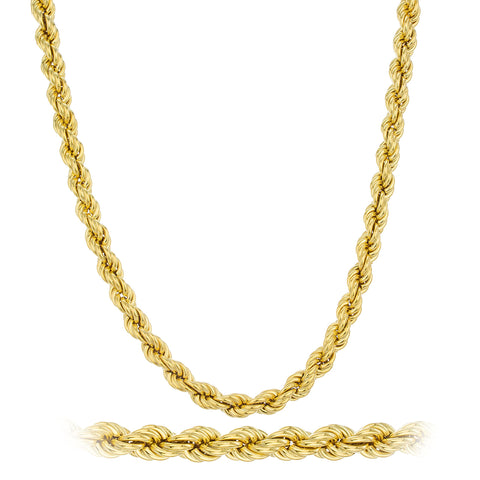 2 Pieces Of Goldtone 6mm 24 Inch Rope Chain Necklace