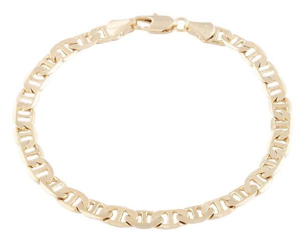 2 Pieces Of Goldtone 6mm 8 Inch Flat Mariner Chain Bracelet