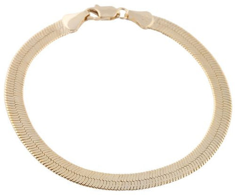 2 Pieces Of Goldtone 6mm 8 Inch Herringbone Chain Bracelet
