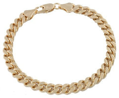 2 Pieces Of Goldtone 7mm 8 Inch Curb Chain Bracelet