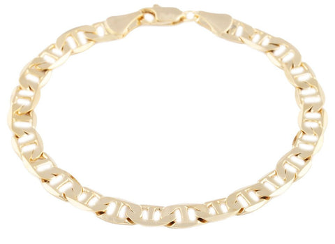 2 Pieces Of Goldtone 7mm 8 Inch Flat Mariner Chain Bracelet