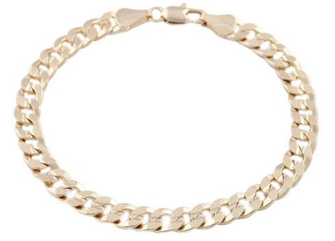 2 Pieces Of Goldtone 7mm 8 Inch Frosted Cuban Chain Bracelet