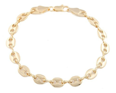 2 Pieces Of Goldtone 7mm 8 Inch Pig Nose Chain Bracelet