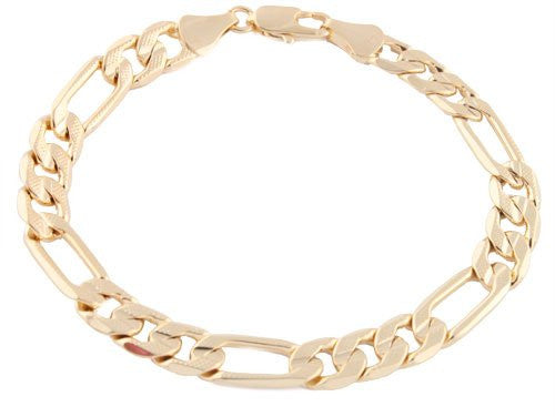 2 Pieces Of Goldtone 8.25 Inch Frosted Figaro Chain 8mm Bracelet