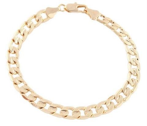 2 Pieces Of Goldtone 8.25 Inch Frosted Miami Cuban Chain 7mm Bracelet