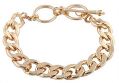 2 Pieces Of Goldtone 8.5 Inch Cuban Link 12mm Toggle Bracelet