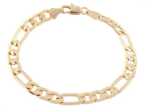 2 Pieces Of Goldtone 8 Inch Frosted Figaro Chain 7mm Bracelet