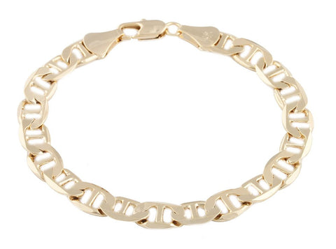 2 Pieces Of Goldtone 8mm 8 Inch Flat Mariner Chain Bracelet