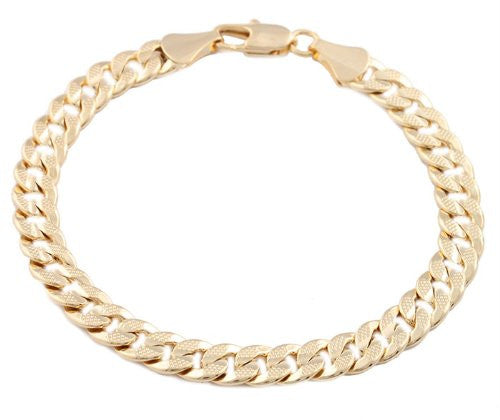 2 Pieces Of Goldtone 8mm 8 Inch Frosted Cuban Chain Bracelet