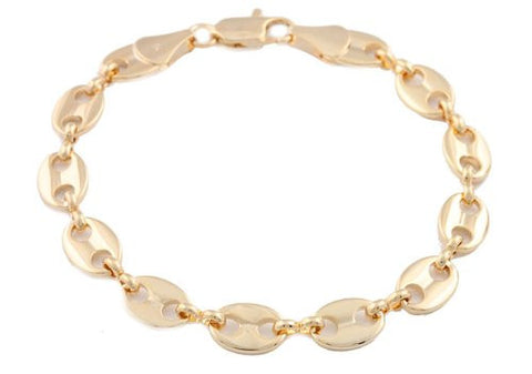 2 Pieces Of Goldtone 8mm 8 Inch Pig Nose Chain Bracelet