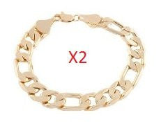 2 Pieces Of Goldtone 9.25 Inch Figaro Chain 12mm Bracelet