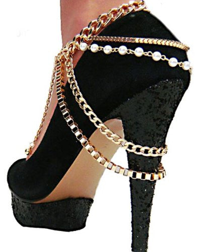 2 Pieces Of Goldtone Adjustable Heel Chain With Multiple Links And Simulated Pearls