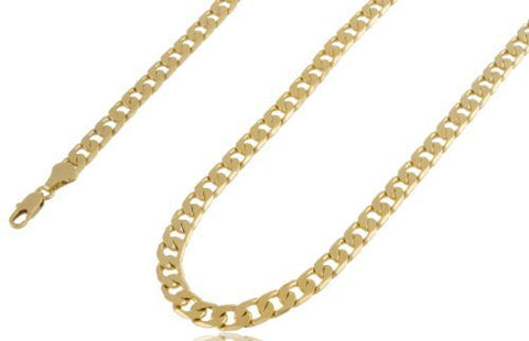 2 Pieces Of Goldtone Brass 7mm Flat Cuban Chain Necklace