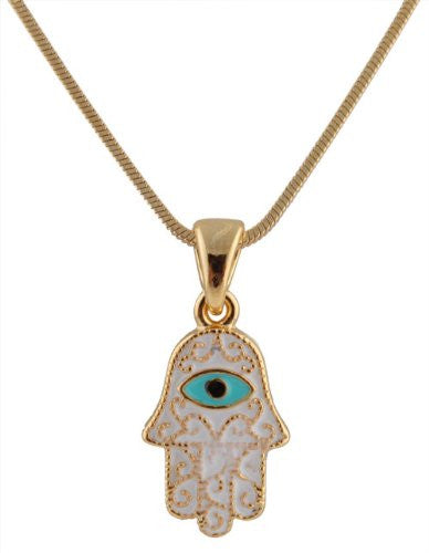 2 Pieces Of Goldtone Iced Out Hamsa With Evil Eye Pendant With An 18 Inch Adjustable Snake Franco Chain Necklace