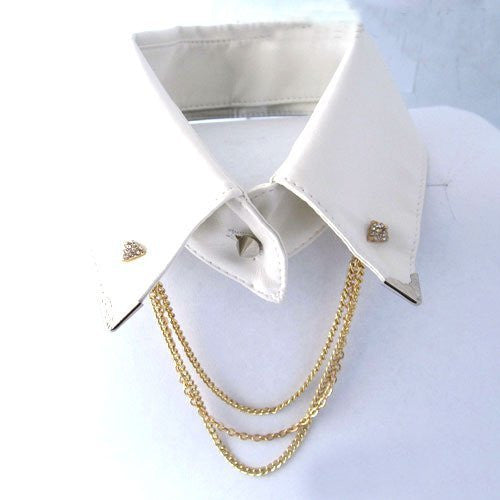2 Pieces Of Goldtone Iced Out Pyramid Collar Brooch