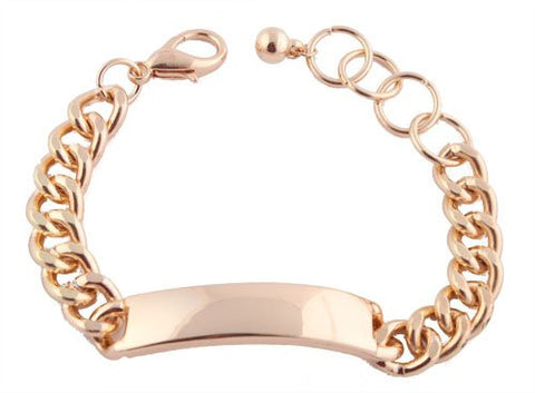 2 Pieces Of Goldtone ID Chain Adjustable Bracelet