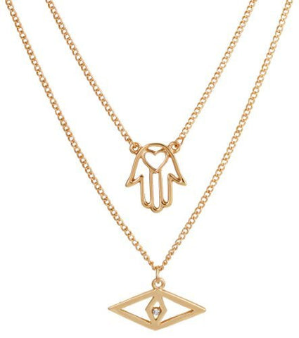 2 Pieces Of Goldtone Modern Evil Eye & Hamsa With Heart Pendants And A 20 Inch Adjustable Double Link Necklace