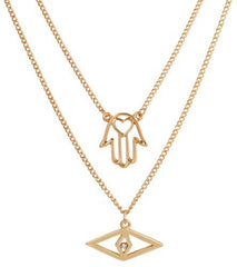 Goldtone Modern Evil Eye & Hamsa with Heart Pendants
