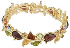 2 Pieces Of Goldtone With Amber Tear Drops & Brown Leaves Bangle Bracelet