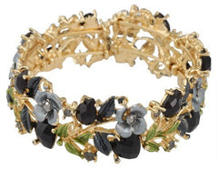 2 Pieces Of Goldtone With Black Hearts & Rose Bangle Bracelet