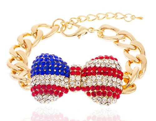 2 Pieces Of Goldtone With Clear American Flag Iced Out Large 3D Bow 9 Inch Cuban Chain Link 12mm Adjustable Bracelet