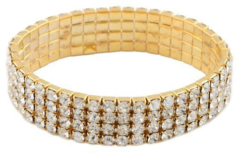 2 Pieces Of Goldtone With Clear Four Rows Iced Out Elastic Stretch Bracelet
