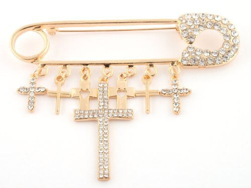 2 Pieces Of Goldtone With Clear Iced Out Safety Pin Style With Dangling Cross Charms Brooch Pin Pendant
