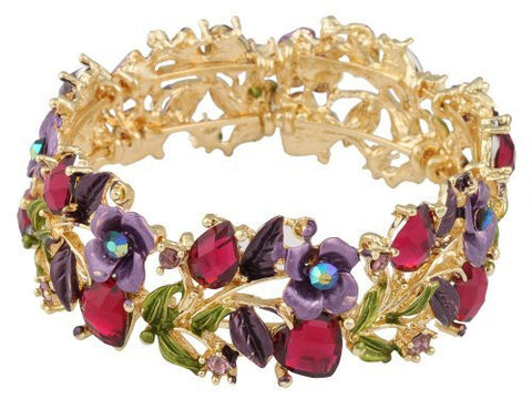 2 Pieces Of Goldtone With Fuchsia Hearts & Purple Roses Bangle Bracelet