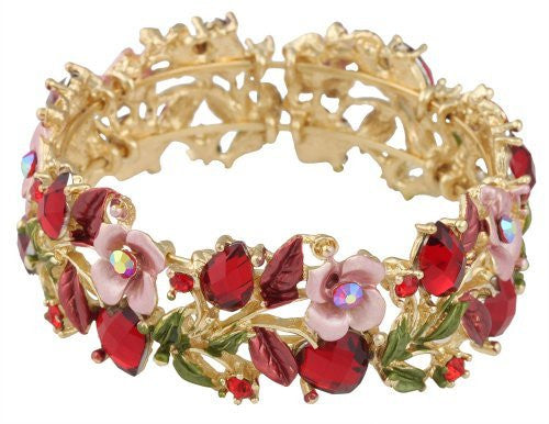 2 Pieces Of Goldtone With Red Hearts & Light Pink Roses Bangle Bracelet
