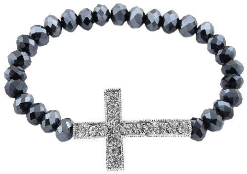 2 Pieces Of Hematite Shamballah Stretch Bracelet With An Iced Out Cross Charm And 25 Glass Beaded Balls