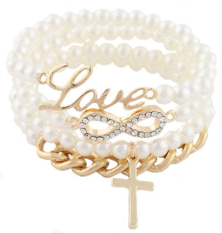 2 Pieces Of Ivory White And Goldtone Iced Out Infinity Sign Charm With Script Love Cross And Chain Bundle Stretch Bracelet