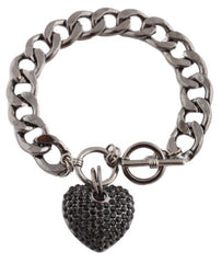 2 Pieces Of Jet Black Iced Out 3D Heart Charm Locket Style 8.5 Inch Link Chain Toggle Bracelet