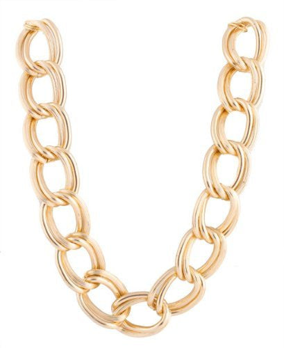 2 Pieces Of Metallic Goldtone Lightweight Double Ridged Style 30mm 20 Inch Link Chain Necklace