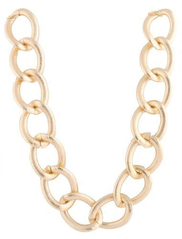 2 Pieces Of Metallic Goldtone Lightweight Large Sanded Style 35mm 20 Inch Link Chain Necklace