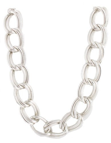 2 Pieces Of Metallic Silvertone Lightweight Double Ridged Style 30mm 20 Inch Link Chain Necklace
